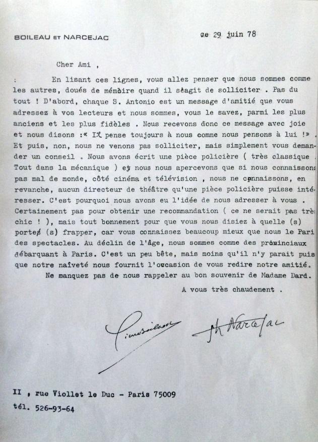 lettre de Boileau et Narcejac