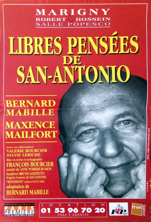 Affiche théatre Libres pensées de San-Antonio
