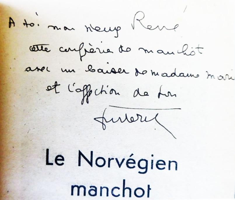 Dédicace le norvégien manchot bleu