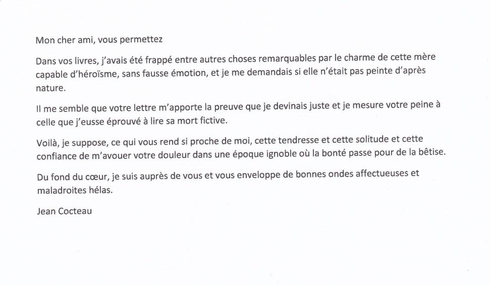 Lettre Jean Cocteau à Frédéric Dard