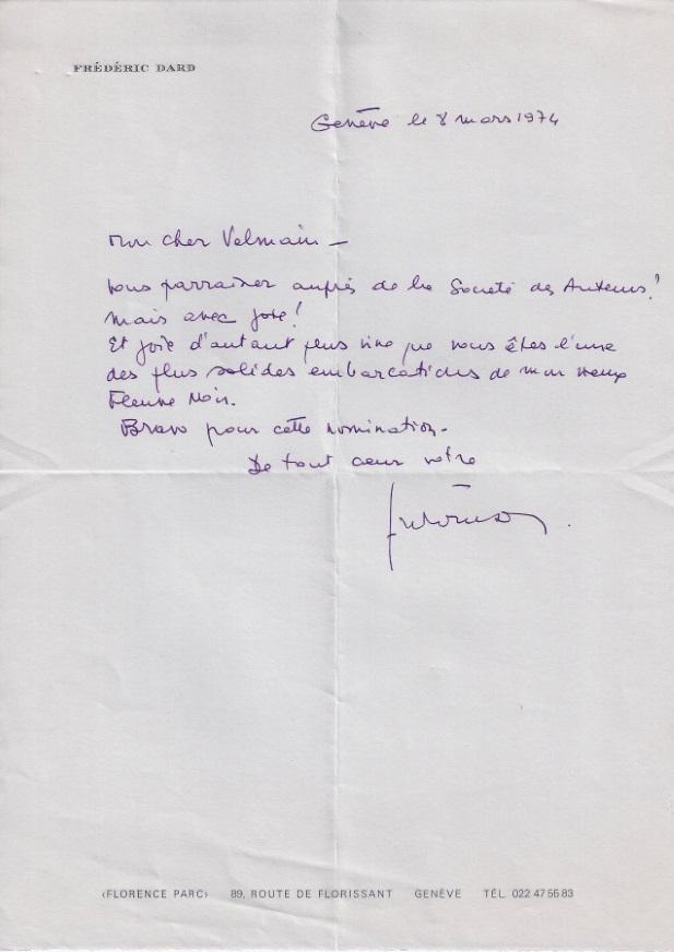 Lettre Frédéric Dard à Valmain