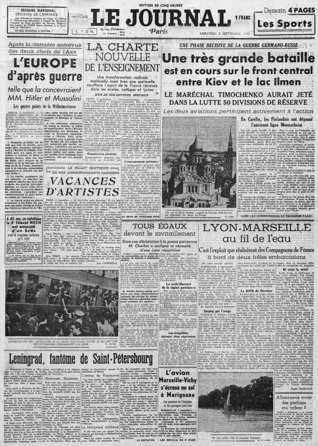 Le Journal 17848 -3 sept 1941