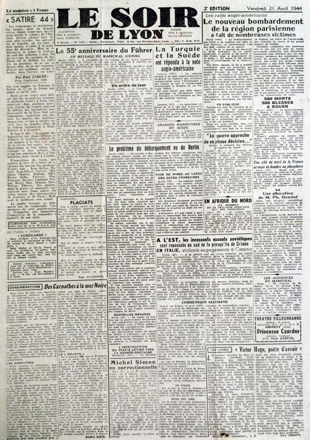 Le Soir de Lyon 21 avril 1944