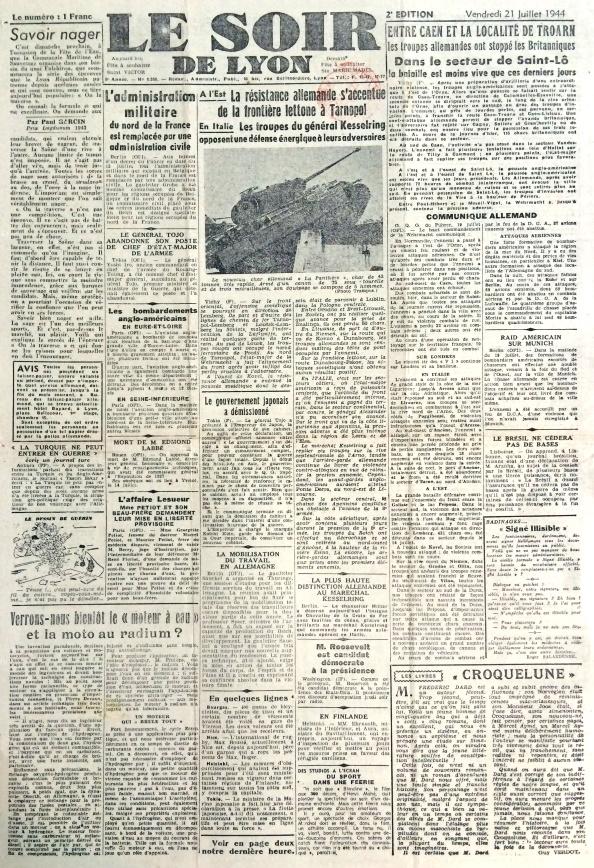Le soir de Lyon 21 juillet 1944