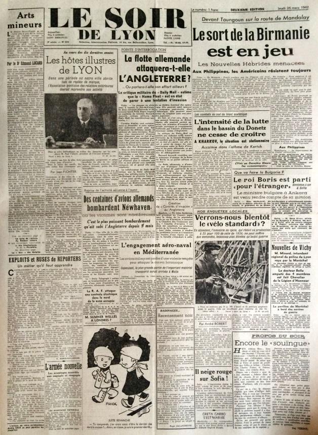 Le soir de Lyon n°634 26 mars 1942