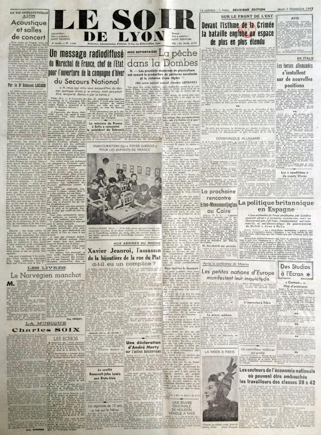 Le soir de lyon 4 novembre 1943