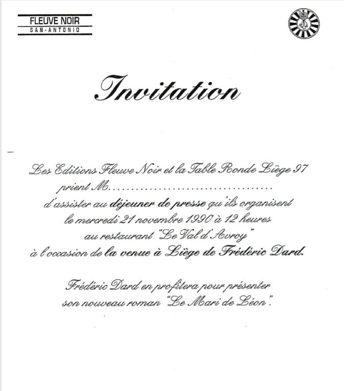 Invitation Table Ronde Liège 1997
