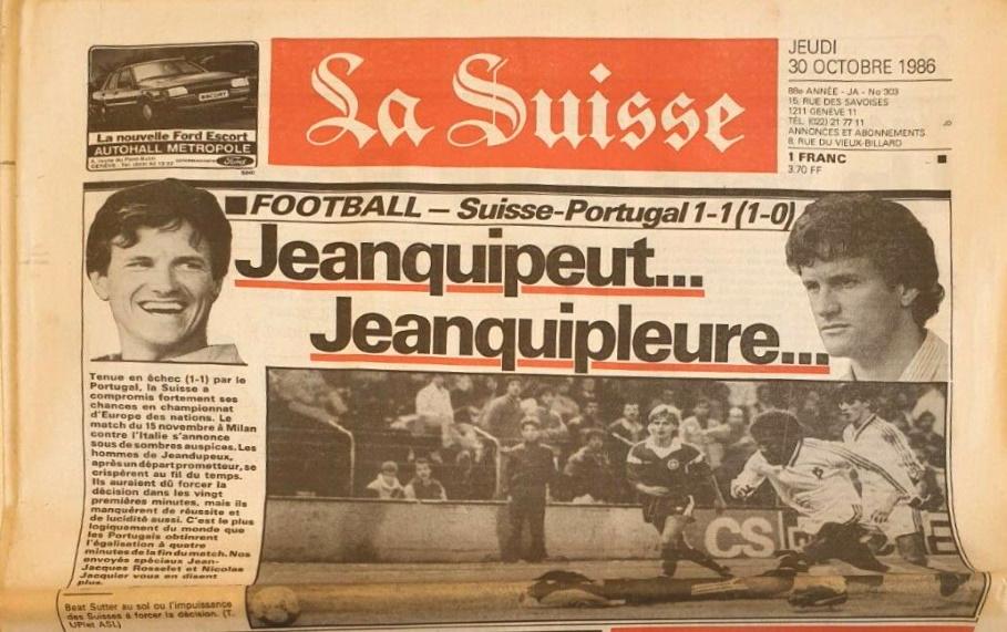 La Suisse 30 octobre 1986 -Haut de la Une
