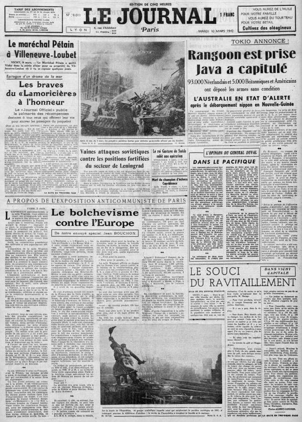 Le Journal 10 mars 1942