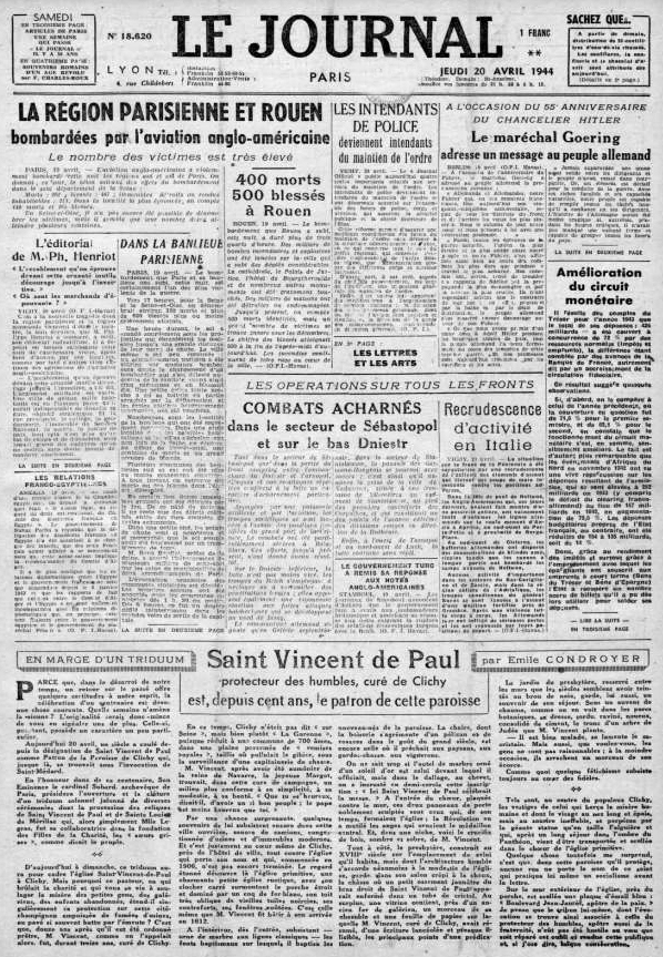 Le Journal 18620 - 20 avril 1944