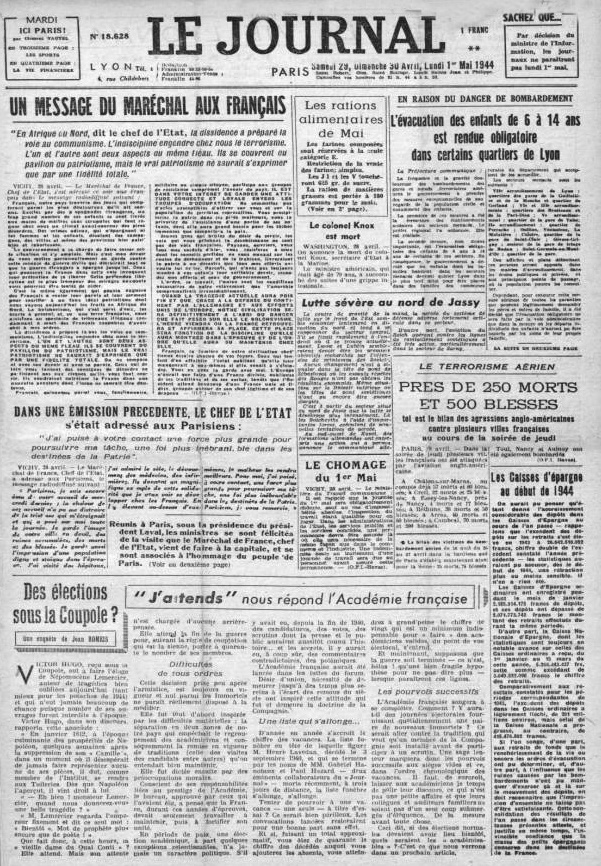 Le Journal 18628 29 avril 1944