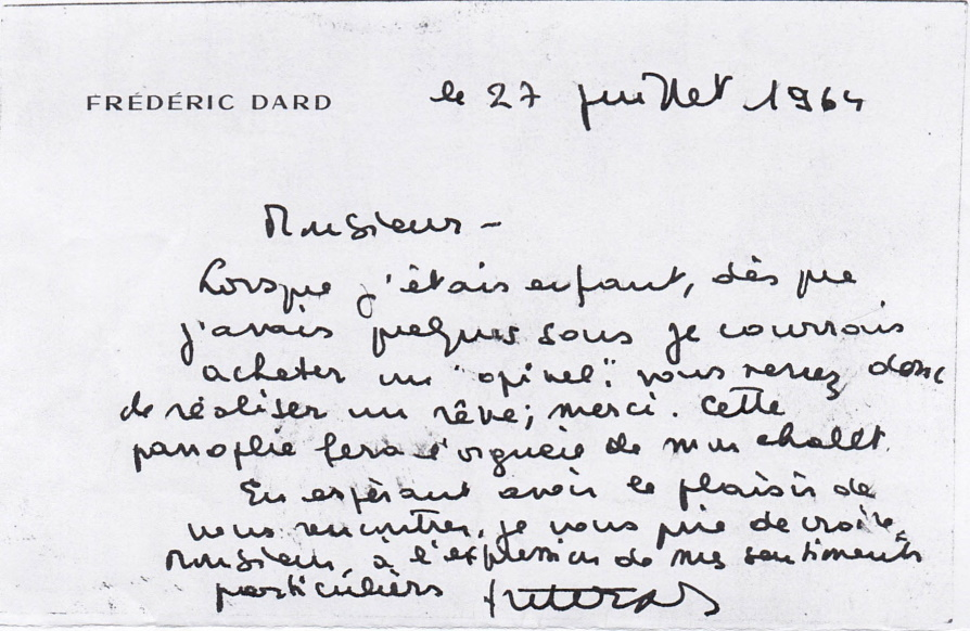 Lettre à Maurice Opinel