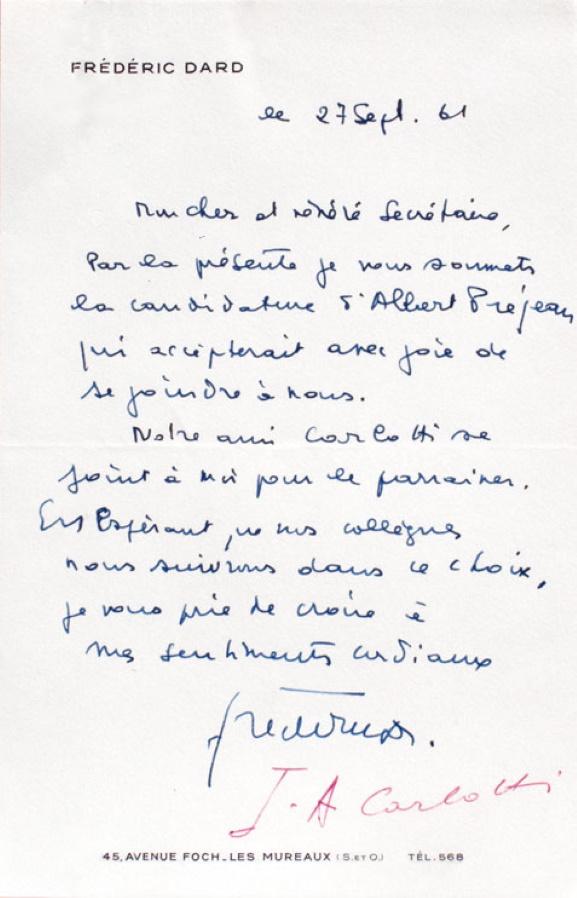Lettre FD au secrétaire de l'Académie Rabelais 27 septembre 1961