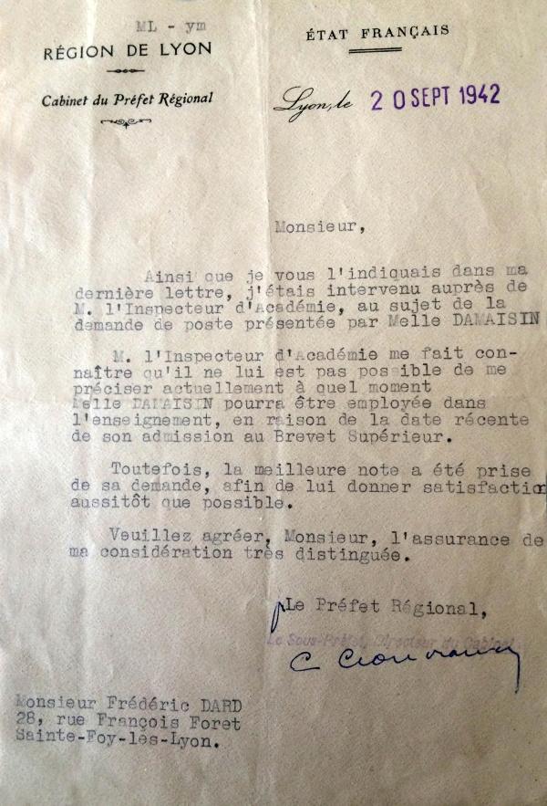 Lettre-Préfecture 20 sept 1942