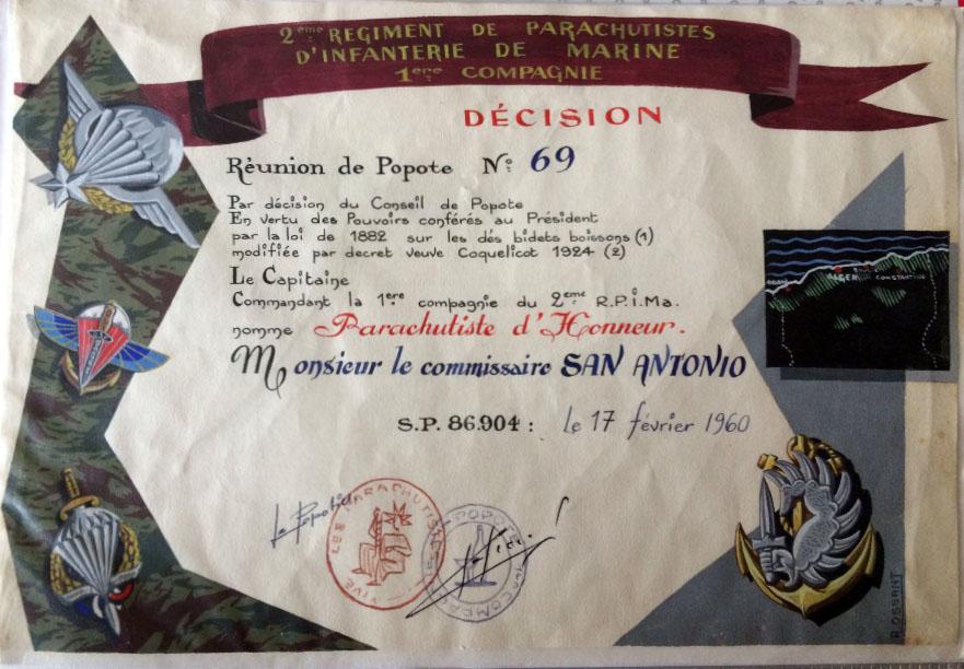 Diplome de parachutisme d'honneur 1960