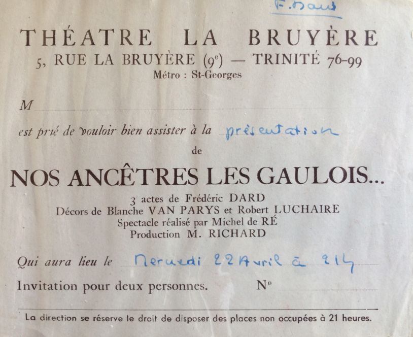 Invitation Nos ancêtres les gaulois