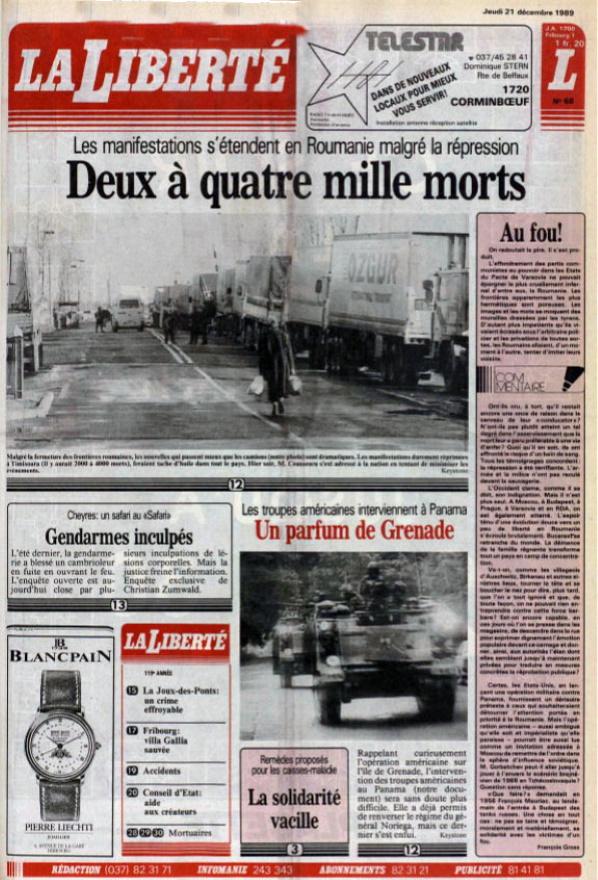 La Liberté 21 decembre 1989