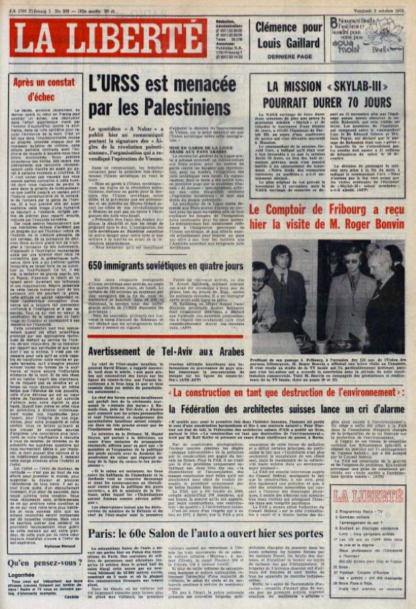 La Liberté 5 octobre 1973