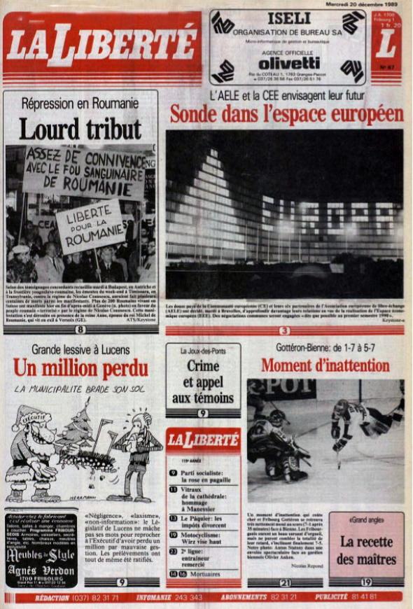 la liberté 20 decembre 1989 page 1