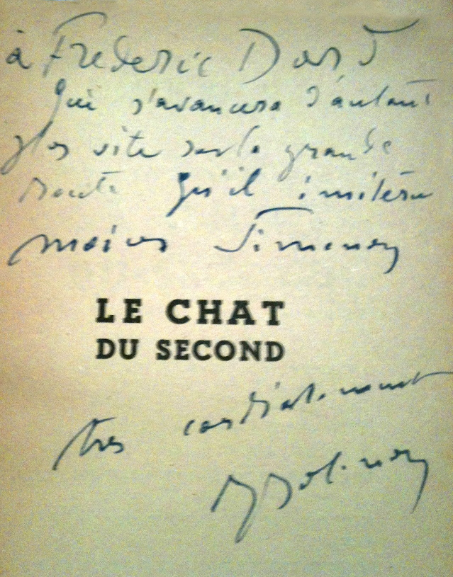 Dédicace Joseph Jolinon 1943 Le chat du second
