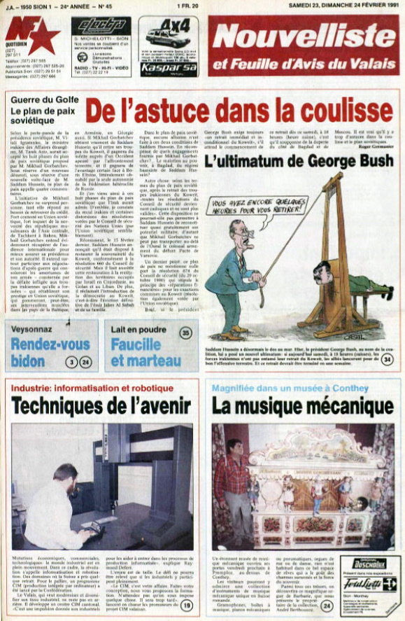 Nouvelliste et Feuille d'Avis du Valais 23 février 1991