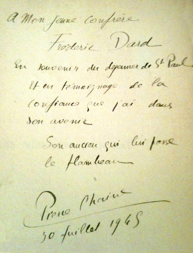 Dédicace Pierre Chaine Si à minuit1945