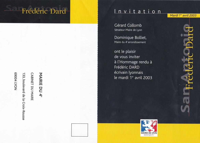 Carton invitation Hommage Frédéric Dard Lyon 1er avril 2003 extérieur