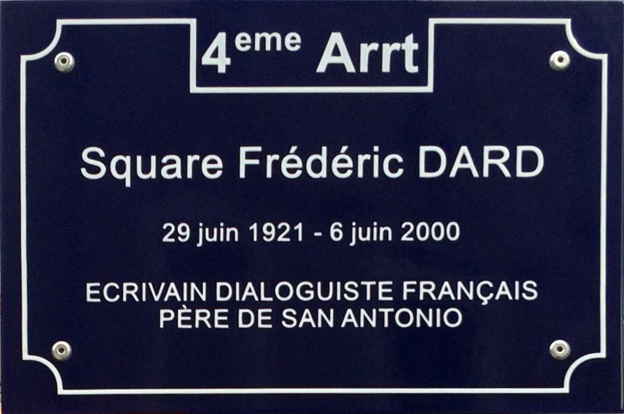 Plaque square Frédéric Dard à Lyon