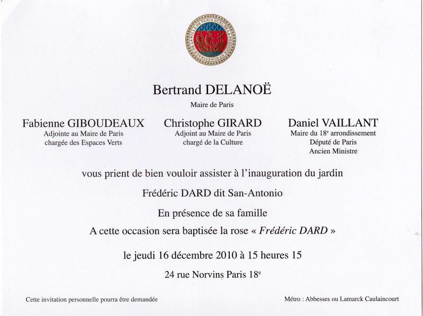 inauguration jardin Frédéric Dard Paris 2010