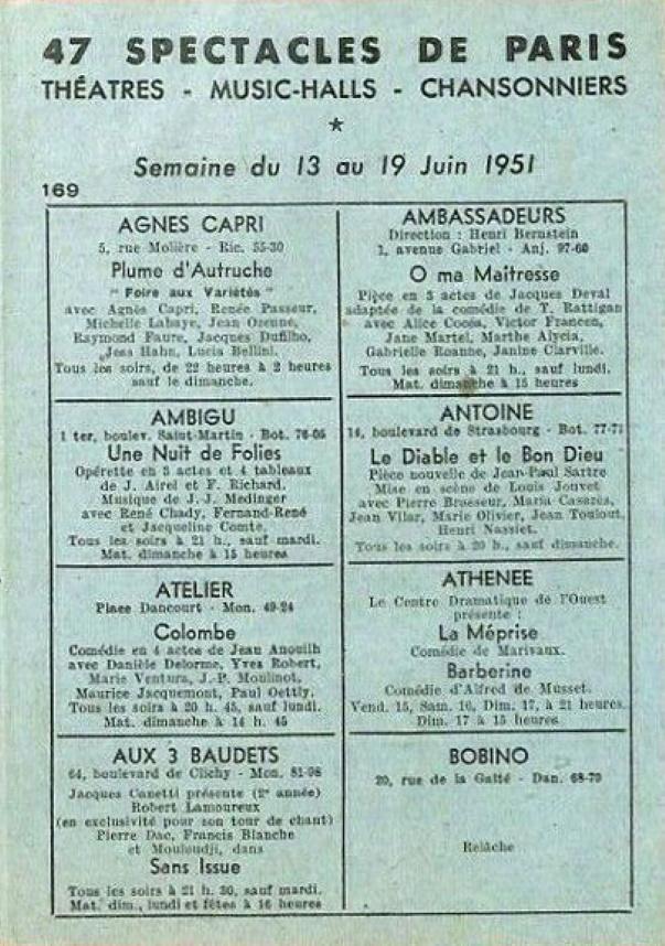 47 Spectacles de Paris n°169