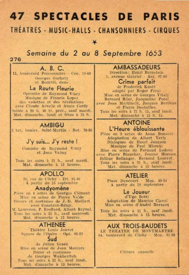 47 Spectacles de Paris n°276