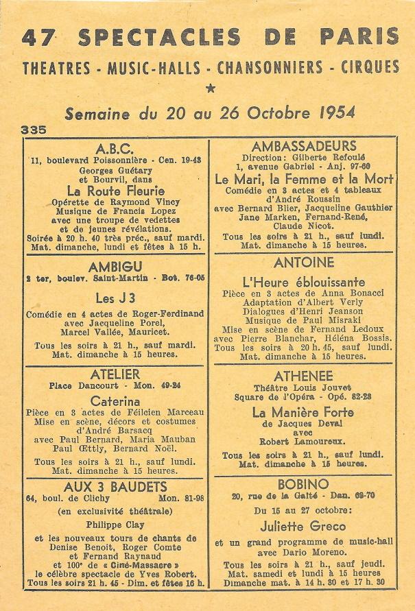 47 spectacles de Paris n°335