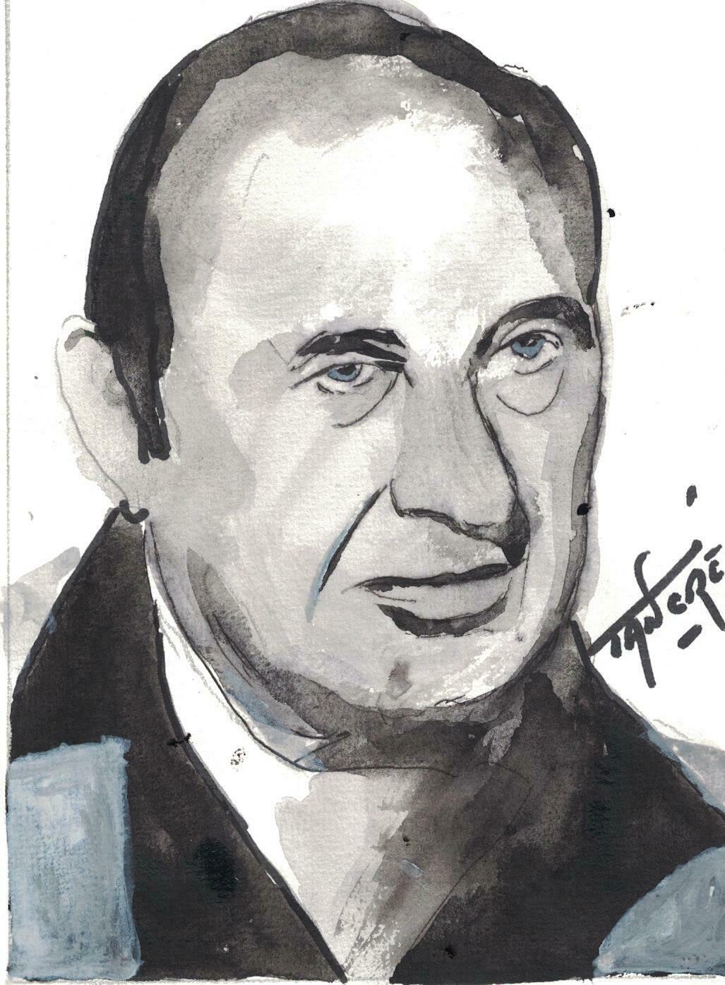 Portrait FD Tancré feutre et aquarelle papier épais 15 sur 21