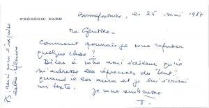 Réponse Dard-Mme Scutenaire 25 mai 1987