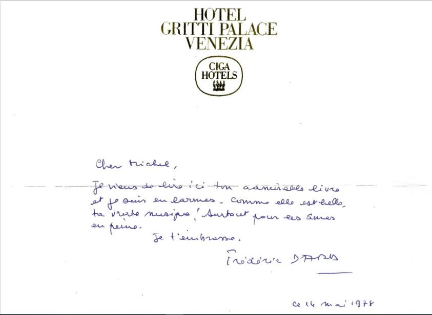 lettre Dard-Audiard 14 mai 1978