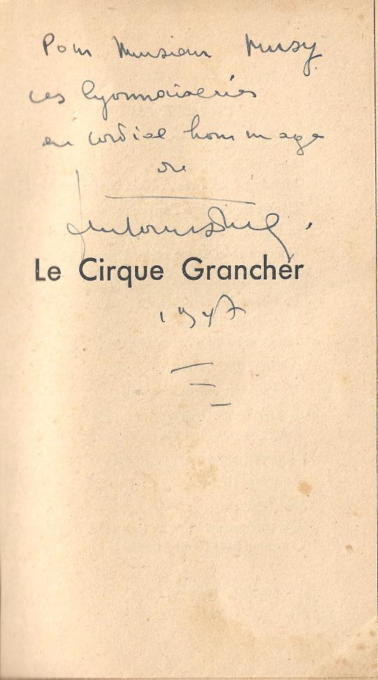 Le Cirque Grancher dédicace Musy